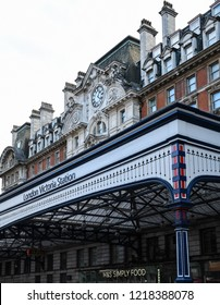 London, United Kingdom - October 18 2018:   The entrance to London Victoria Train station on Victoria Street
