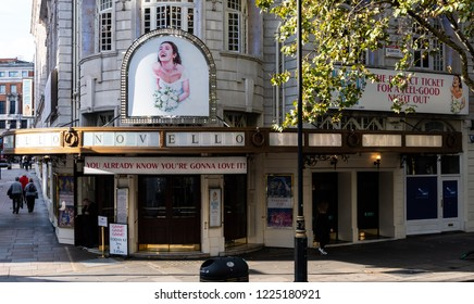 London, United Kingdom - October 18 2018:   The entrance to the Novello theatre which has been running the Abba musical Mamma Mia since September 2012 on Aldwych