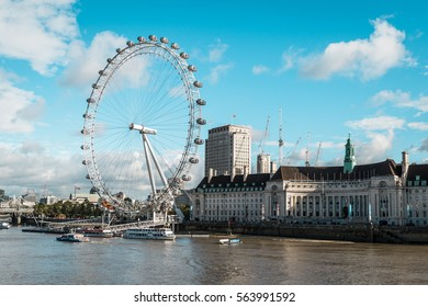 London, United Kingdom - October 18, 2016: View on the London Eye and the Thames river in London, UK