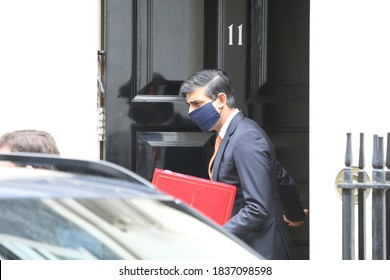 London / United Kingdom - October 20 2020: British Chancellor of the Exchequer Ridhi Sunak leaves 11 Downing Street.