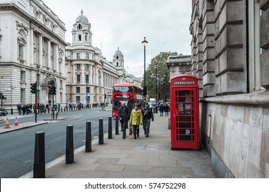 London, United Kingdom - October 20, 2016: People are walking down the Whitehall street in London, England