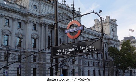 London, United Kingdom - October 20, 2017: Westminster underground station outside the government offices of the Houses of Parliament