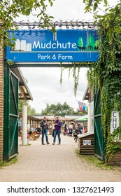 London, United Kingdom - October 21, 2018: Mudchute Farm. Largest city farmin London with a great collection of animals, near financial district Canary Wharf. Entrance to inner yard