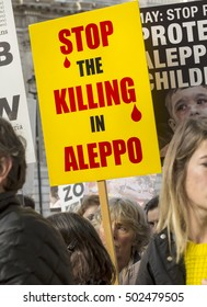 London, United Kingdom - October 22, 2016: Aleppo's Children. A rally was held outside of 10 Downing Street in London to demand the children of Aleppo were protected from the war.