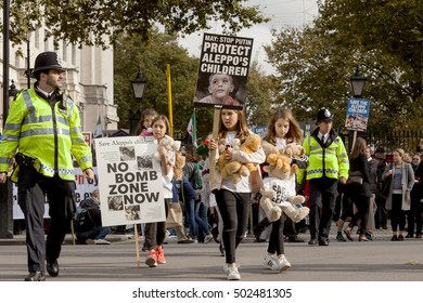 London, United Kingdom - October 22, 2016: Aleppo's Children. A rally was held outside of 10 Downing Street in London to demand that Prime Minister May protects the children of Aleppo.