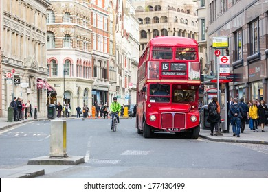 LONDON, UNITED KINGDOM - OCTOBER 24, 2013: Famous red Double-Decker at Monument bus stop