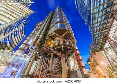 LONDON, UNITED KINGDOM - OCTOBER 26: This is a night view of the Lloyds building, a famous building in the City of London financial district on October 26, 2017 in London