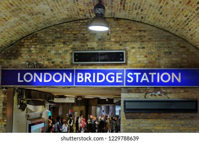 London, United Kingdom - October 26th 2018: Inside of London bridge metro with sign showing the name of the station, in London