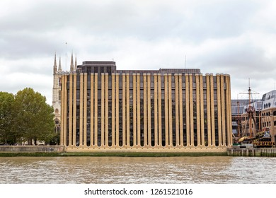 London, United Kingdom - October 27th 2018: Minerva house built between 1979 and 1983 as the London office of Grindlays Bank,  on the River Thames