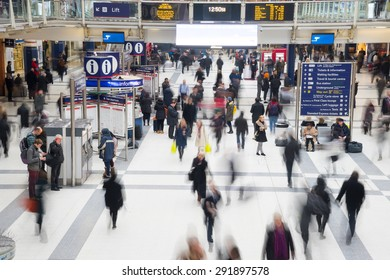 London, United Kingdom - OCTOBER 30, 2014 , Liverpool Street Station, one of the busiest station in London, in rush hour in front of arrival departure board.
