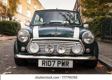 London, United Kingdom - October 30, 2017: Mini Mark VII stands on the roadside in London city. This is the final version of the model produced by British Motor Corporation from 1996 till 2000