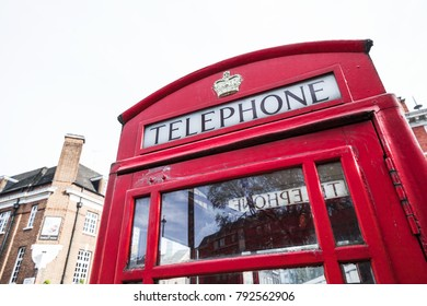London, United Kingdom - October 30, 2017: K6, the most common red telephone box model, photographed in London city