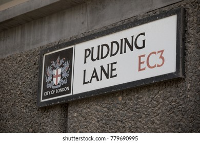 London, United Kingdom - October 30th, 2017:-Pudding Lane, where the great fire of London started in 1666