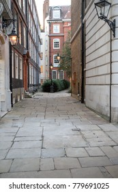 London, United Kingdom - October 30th, 2017:- A Cobbled street near Temple Church