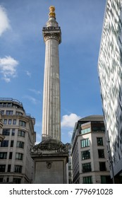 London, United Kingdom - October 30th, 2017-The monument to the great fire of London in 1666