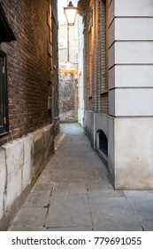 London, United Kingdom - October 30th, 2017:- A narrow alley in central London