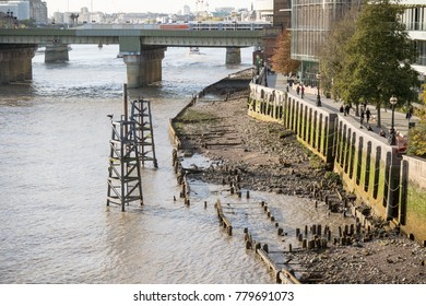 London, United Kingdom - October 30th, 2017:- Banks of the River Thames as it flows through London