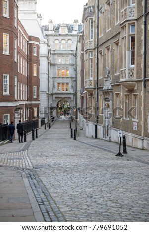 London, United Kingdom - October 30th, 2017:-  Cobbled Street in Middle Temple area of London