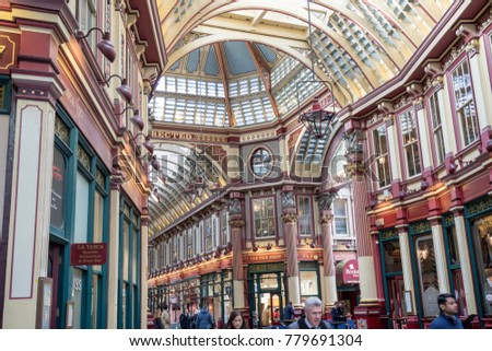 London, United Kingdom - October 30th, 2017:- Leadenhall Market in the City of London