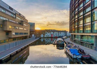 LONDON, UNITED KINGDOM - OCTOBER 31: This is Paddington Basin, a modern office area along the Regents Canal on October 31, 2017 in London