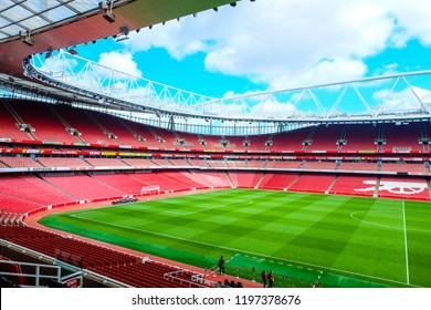 """""""London, United Kingdom- October 4,2018: A picture of Emirates Stadium during stadium tour in the afternoon. Emirates is home of Arsenal Football Club."""""""