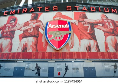 """""""London, United Kingdom- October 4,2018: A picture of Emirates Stadium during tour in the afternoon. Emirates Stadium is home of Arsenal Football Club."""""""