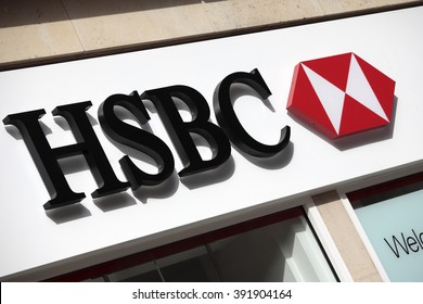 LONDON, UNITED KINGDOM : OCTOBER 7, 2011 - HSBC sign and logo above the entrance to a branch of HSBC Bank in Knightsbridge London.