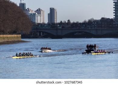 London, United Kingdom On February 17th 2018.London, United Kingdom On February 17th 2018. Rowing on the River Thames From Putney Bridge to Hammersmith Bridge