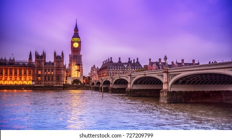 London, the United Kingdom: the Palace of Westminster with Big Ben, Elizabeth Tower, viewed from across the River Thames at night