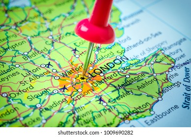 London in United Kingdom pinned on a map of Europe