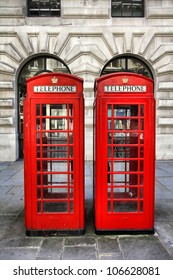 London, United Kingdom - red telephone booths. Phone boxes.