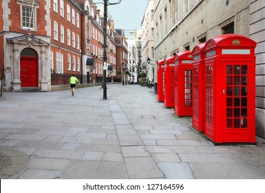 London, United Kingdom - red telephone boxes of Broad Court, Covent Garden.