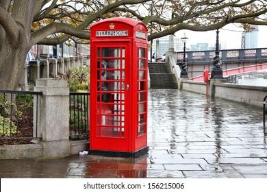 London, United Kingdom - red telephone box in the rain. HDR image.