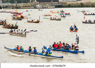 London, United Kingdom - September 03, 2016: The Great River Race at London's Millwall Dock , Canary Wharf. Annual river marathon with 300 crews competing to become the UK's Traditional Boat Champions