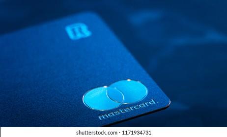 LONDON, UNITED KINGDOM / September 04 2018: Metal credit card Revolut Mastercard Macro