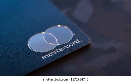 LONDON, UNITED KINGDOM / September 04 2018: Metal credit card Mastercard Macro