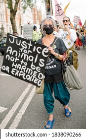 London, United Kingdom - September 1, 2020: Animal Rebellion protesters march from Smithfield market to Parliament square.