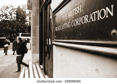 London, United Kingdom - September 10, 2015: Sign at an entrance to the British Broadcasting Corporation's building at Portland Place in London.