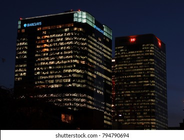 London, United Kingdom - September 11 2007:   A night photo of the Barclays and HSBC building at Canary Wharf