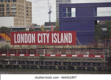 LONDON, UNITED KINGDOM - SEPTEMBER 12 2015: London City Island board in the new quartier of London, United Kingdom