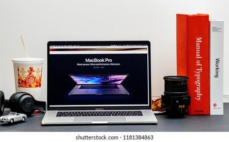 London, United Kingdom - September 13, 2018: Apple Computers internet website on 15 inch 2018 MacBook Retina in room environment showcasing latest MacBook Pro Intel Gen 8 laptop
