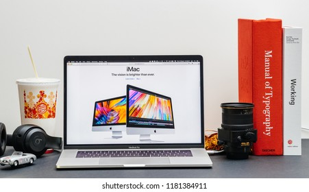 London, United Kingdom - September 13, 2018: Apple Computers internet website on 15 inch 2018 MacBook Retina in room environment showcasing latest iMac