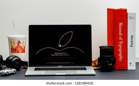 London, United Kingdom - September 13, 2018: Apple Computers internet website on 15 inch 2018 MacBook Retina in room environment showcasing Keynote in Cupertino end of the event