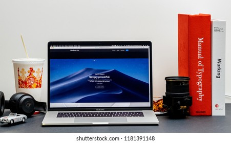 London, United Kingdom - September 13, 2018: Apple Computers  website on 15 inch 2018 MacBook Retina in room environment showcasing latest MacBook Pro Intel Gen 8 laptop MacOs Mojave powerful os