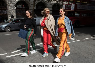 LONDON, United Kingdom- SEPTEMBER 14 2018: Lady on the street during the London Fashion Week