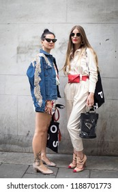 LONDON, United Kingdom- SEPTEMBER 14 2018: People on the street during the London Fashion Week