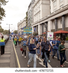 London, United Kingdom - September 2, 2016: March for Europe. A march was organized through social media to take the concerns of the Remain voters to the government of Britain.