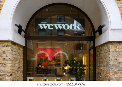 London, United Kingdom - September 22, 2019: A view of the Wework co-sharing office spaces near Liverpool Street Station In London