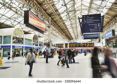 London, United Kingdom, - September 22, 2015: Scene inside Victoria train station in London.