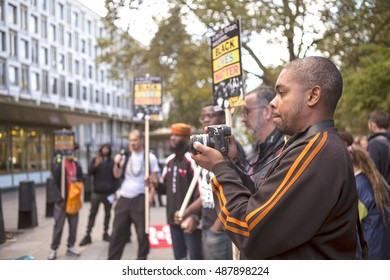 London, United Kingdom - September 23, 2016: Black Lives Matter in Britain. A small rally in London outside the American Embassy to support the movement Black Lives Matter.